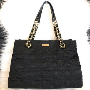 Kate Spade Black Quilted Nylon Chain Shoulder Bag